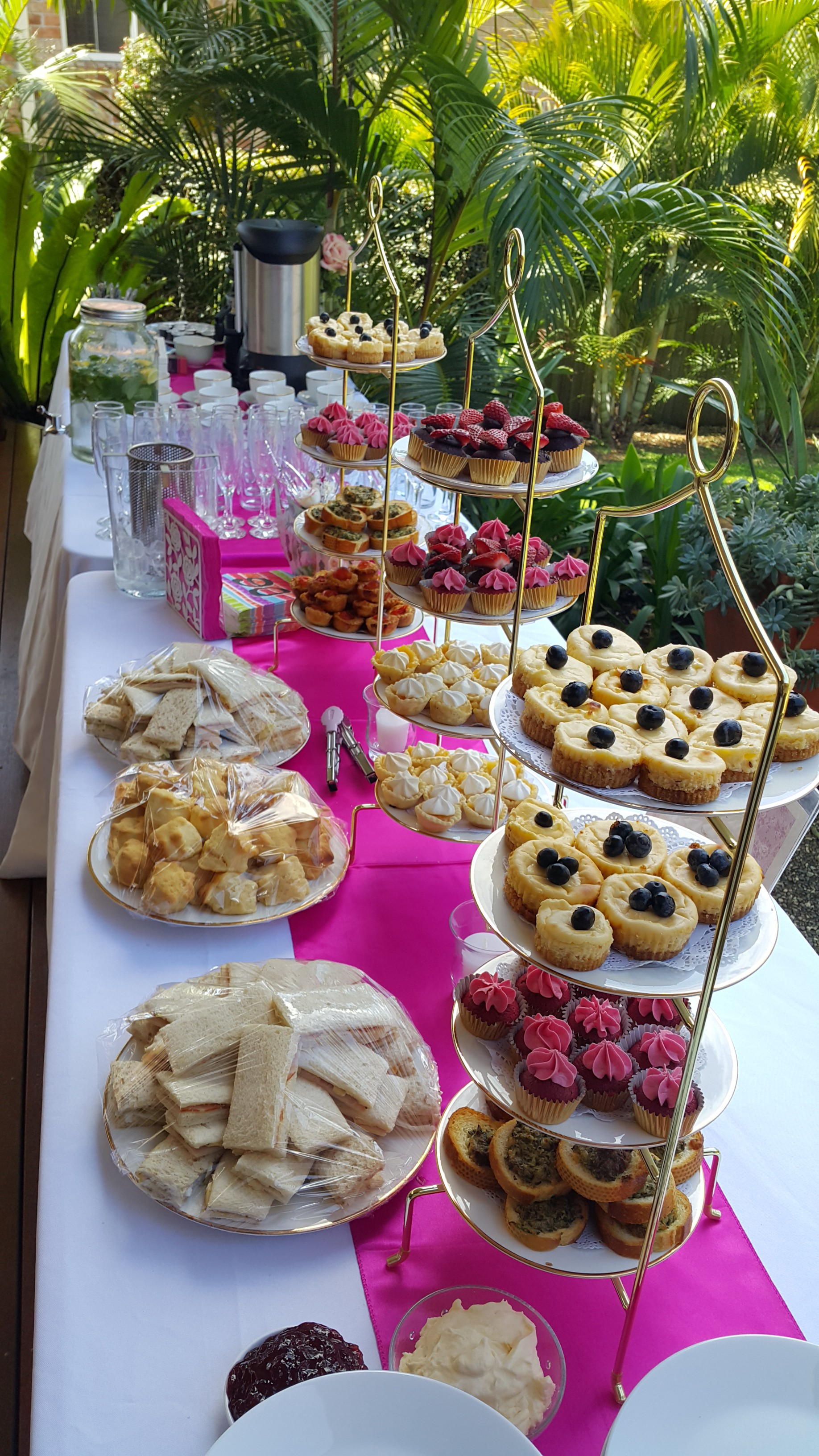 Hot pink and white high tea