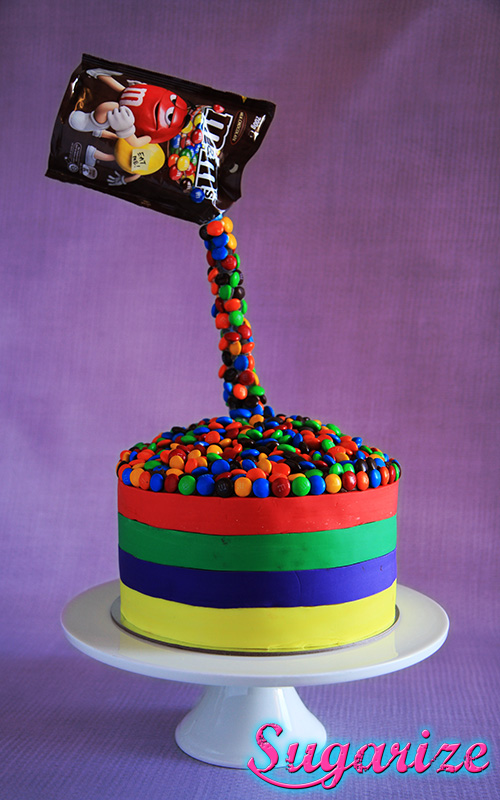 Gravity defying M&M cake sugarize gold coast