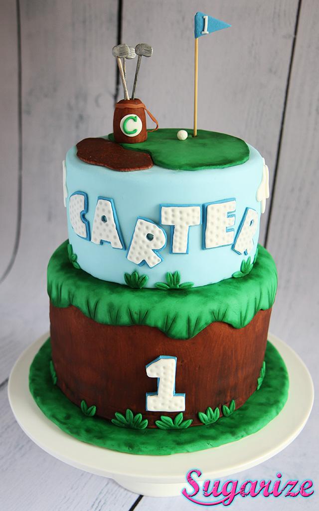 Golf themed boys 1st birthday cake sugarize