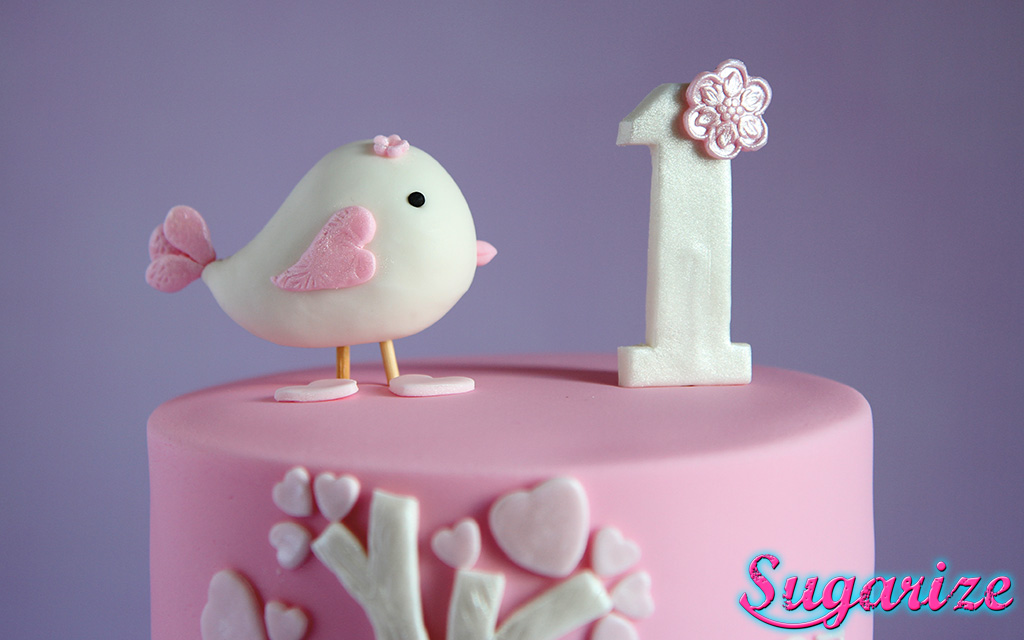 Pink and white little bird girls birthday cake sugarize