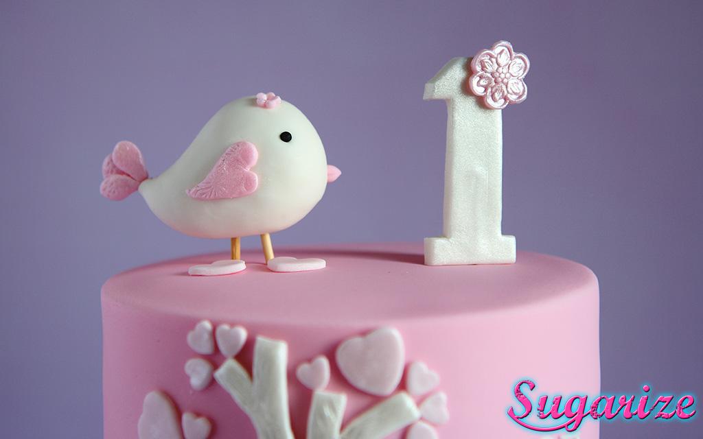 Pink and white little bird girls birthday cake sugarize