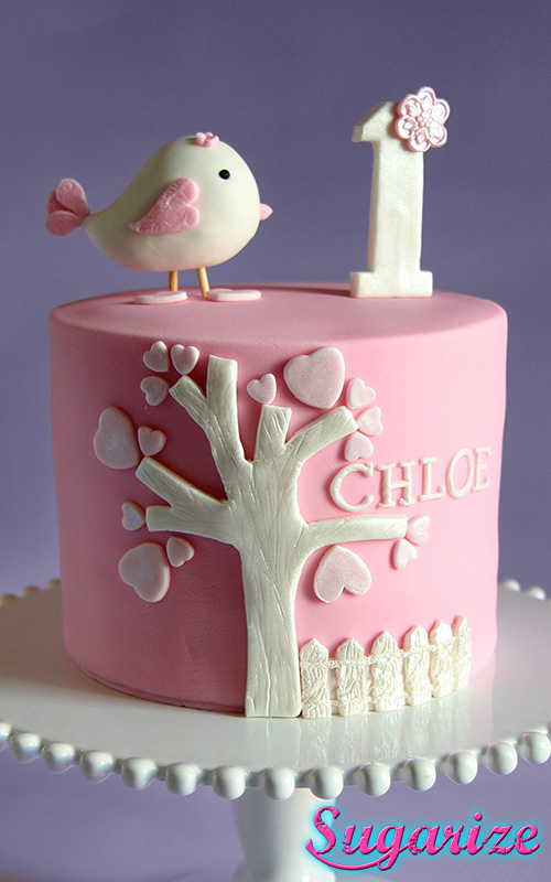 Pink and white little bird girls birthday cake sugarize Sugarize