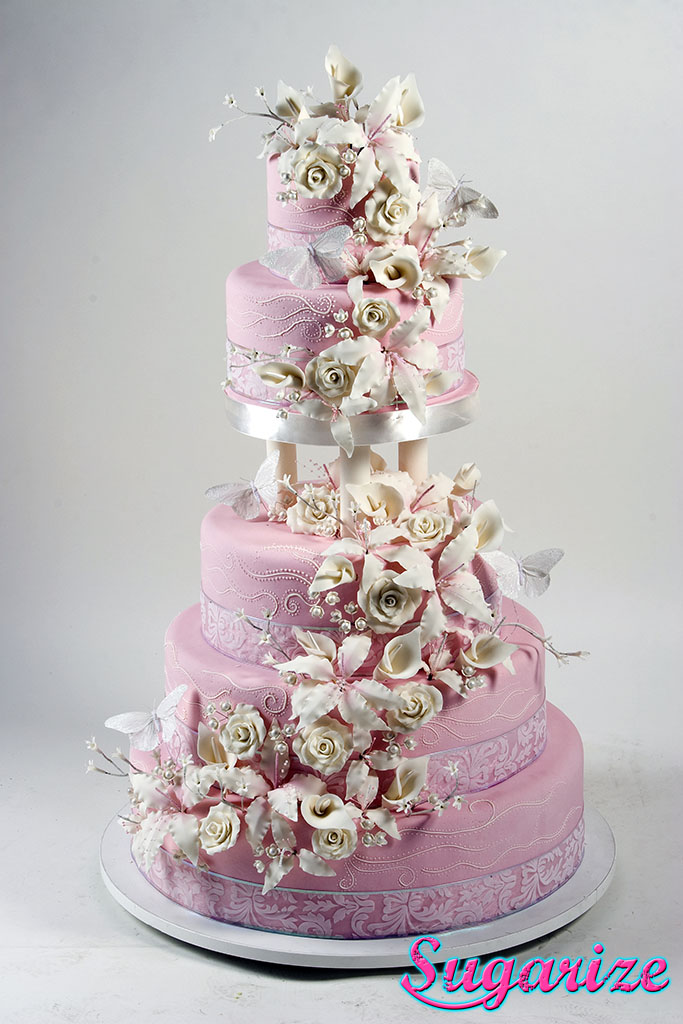 5 Tier Dusty Pink Wedding Cake Sugarize - Dusty Pink Wedding Cake