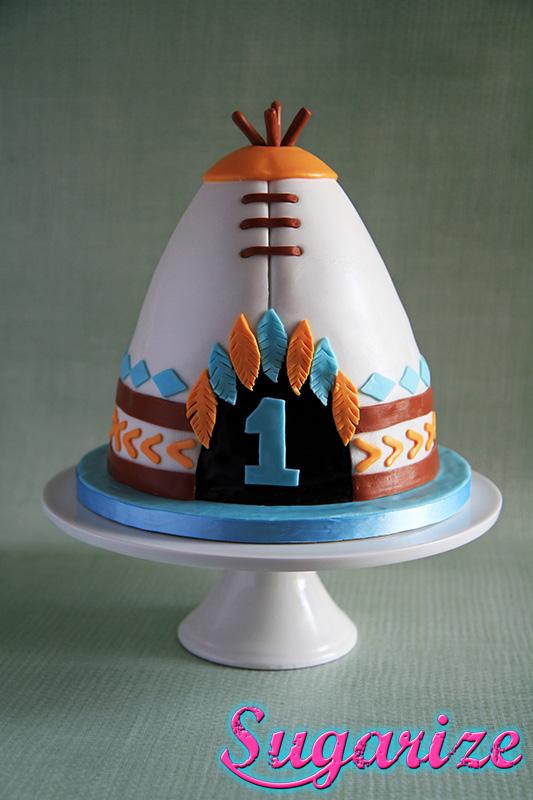 boy birthday indian teepee tipi cake