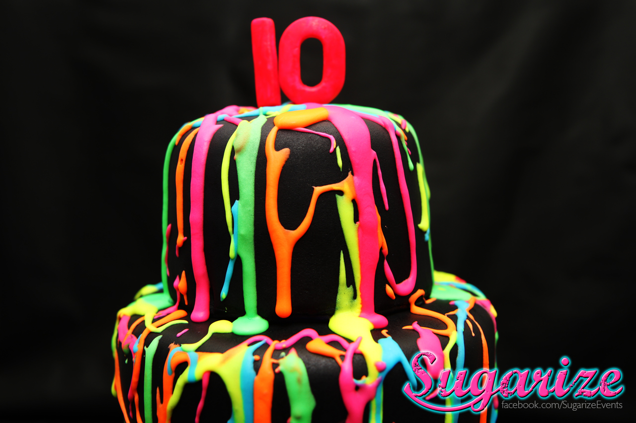 Sugarize Neon Fluro Splash Cake