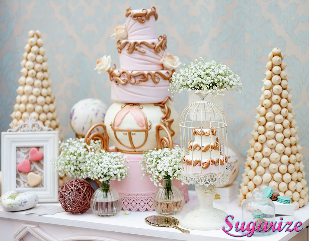 Sugarize wedding dessert table gold carriage cake